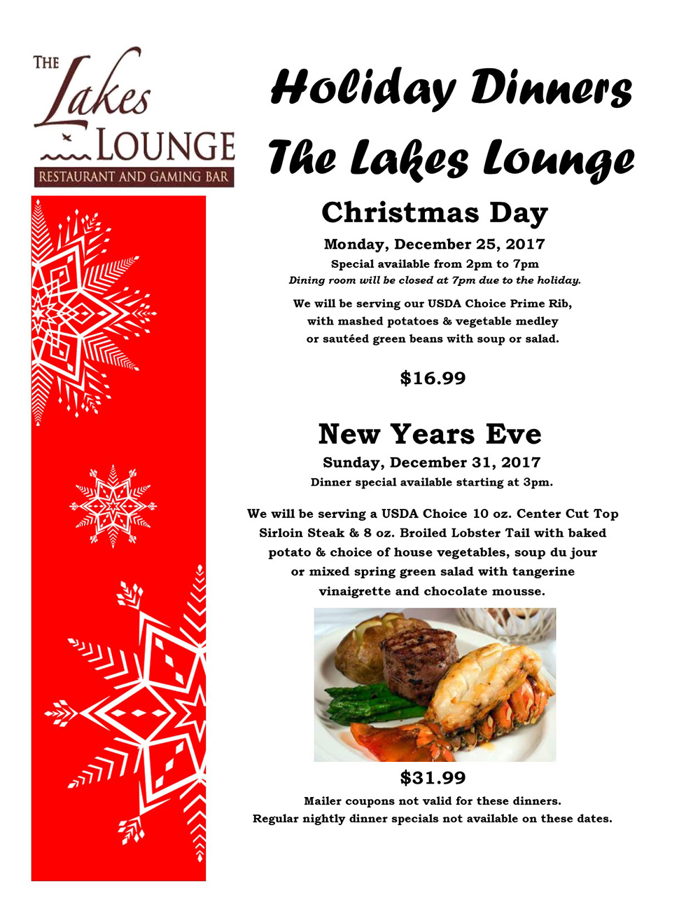 2017 Holiday Dinners • The Lakes Lounge Restaurant And Gaming Bar
