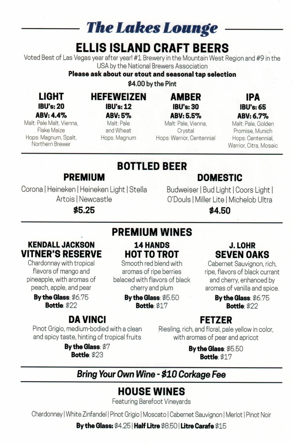 beer wine menu